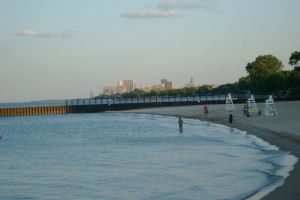 Evanston Beach view of City